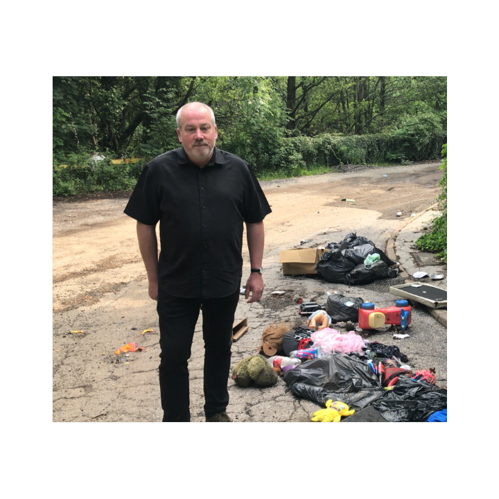 Local Lib Dem Activist Richard Williams at a typical example of fly-tipping in and around the Stannington ward.